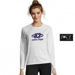 T-shirt Blanc 140g SPORTY LSL Femme
